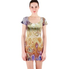 Space Abstraction Background Digital Computer Graphic Short Sleeve Bodycon Dress