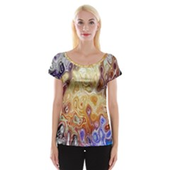 Space Abstraction Background Digital Computer Graphic Women s Cap Sleeve Top
