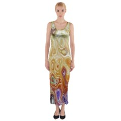 Space Abstraction Background Digital Computer Graphic Fitted Maxi Dress
