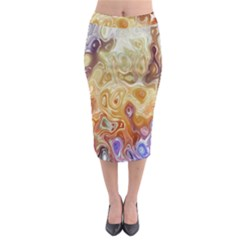 Space Abstraction Background Digital Computer Graphic Midi Pencil Skirt