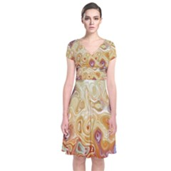 Space Abstraction Background Digital Computer Graphic Short Sleeve Front Wrap Dress
