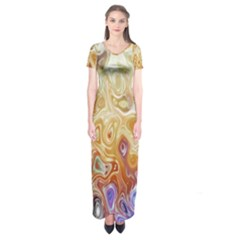 Space Abstraction Background Digital Computer Graphic Short Sleeve Maxi Dress