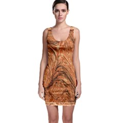 3d Glass Frame With Fractal Background Sleeveless Bodycon Dress