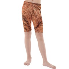 3d Glass Frame With Fractal Background Kids  Mid Length Swim Shorts