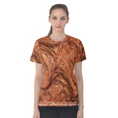 3d Glass Frame With Fractal Background Women s Cotton Tee