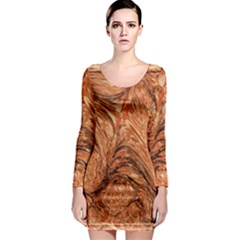 3d Glass Frame With Fractal Background Long Sleeve Bodycon Dress