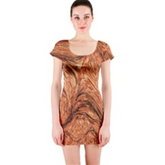 3d Glass Frame With Fractal Background Short Sleeve Bodycon Dress