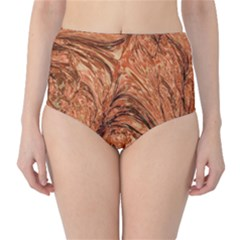 3d Glass Frame With Fractal Background High Waist Bikini Bottoms
