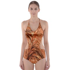 3d Glass Frame With Fractal Background Cut Out One Piece Swimsuit