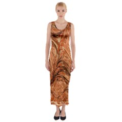3d Glass Frame With Fractal Background Fitted Maxi Dress