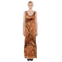 3d Glass Frame With Fractal Background Maxi Thigh Split Dress