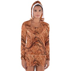 3d Glass Frame With Fractal Background Women s Long Sleeve Hooded T Shirt