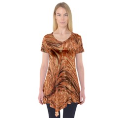 3d Glass Frame With Fractal Background Short Sleeve Tunic