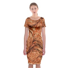 3d Glass Frame With Fractal Background Classic Short Sleeve Midi Dress