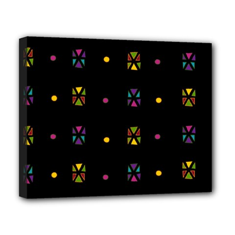 Abstract A Colorful Modern Illustration Black Background Deluxe Canvas 20  x 16