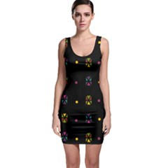 Abstract A Colorful Modern Illustration Black Background Sleeveless Bodycon Dress