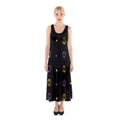 Abstract A Colorful Modern Illustration Black Background Sleeveless Maxi Dress