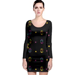 Abstract A Colorful Modern Illustration Black Background Long Sleeve Bodycon Dress