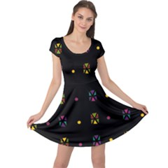 Abstract A Colorful Modern Illustration Black Background Cap Sleeve Dresses