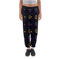 Abstract A Colorful Modern Illustration Black Background Women s Jogger Sweatpants