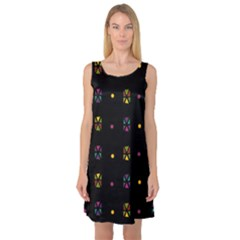 Abstract A Colorful Modern Illustration Black Background Sleeveless Satin Nightdress