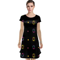 Abstract A Colorful Modern Illustration Black Background Cap Sleeve Nightdress