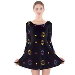 Abstract A Colorful Modern Illustration Black Background Long Sleeve Velvet Skater Dress