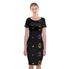 Abstract A Colorful Modern Illustration Black Background Classic Short Sleeve Midi Dress