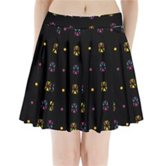 Abstract A Colorful Modern Illustration Black Background Pleated Mini Skirt