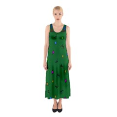 Green Abstract A Colorful Modern Illustration Sleeveless Maxi Dress