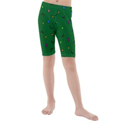 Green Abstract A Colorful Modern Illustration Kids  Mid Length Swim Shorts