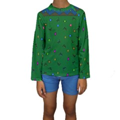 Green Abstract A Colorful Modern Illustration Kids  Long Sleeve Swimwear
