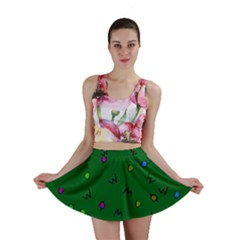 Green Abstract A Colorful Modern Illustration Mini Skirt