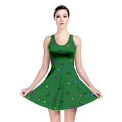 Green Abstract A Colorful Modern Illustration Reversible Skater Dress