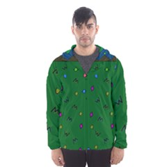 Green Abstract A Colorful Modern Illustration Hooded Wind Breaker (Men)