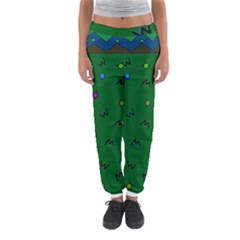 Green Abstract A Colorful Modern Illustration Women s Jogger Sweatpants