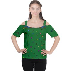 Green Abstract A Colorful Modern Illustration Women s Cutout Shoulder Tee