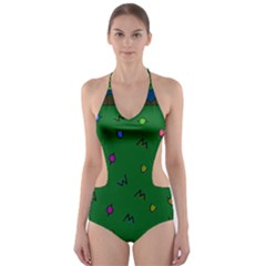 Green Abstract A Colorful Modern Illustration Cut Out One Piece Swimsuit