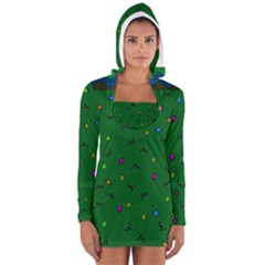 Green Abstract A Colorful Modern Illustration Women s Long Sleeve Hooded T Shirt