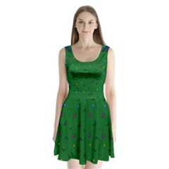 Green Abstract A Colorful Modern Illustration Split Back Mini Dress