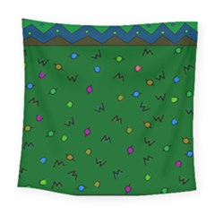 Green Abstract A Colorful Modern Illustration Square Tapestry (large)