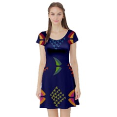Abstract A Colorful Modern Illustration Short Sleeve Skater Dress