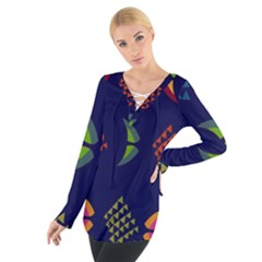 Abstract A Colorful Modern Illustration Women s Tie Up Tee