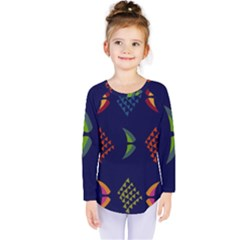 Abstract A Colorful Modern Illustration Kids  Long Sleeve Tee