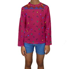 Red Abstract A Colorful Modern Illustration Kids  Long Sleeve Swimwear