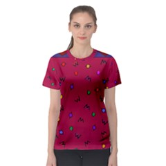 Red Abstract A Colorful Modern Illustration Women s Sport Mesh Tee