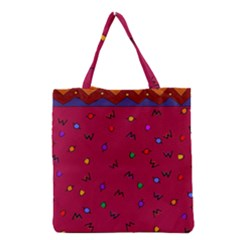 Red Abstract A Colorful Modern Illustration Grocery Tote Bag