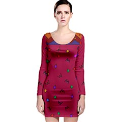 Red Abstract A Colorful Modern Illustration Long Sleeve Bodycon Dress