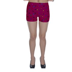 Red Abstract A Colorful Modern Illustration Skinny Shorts