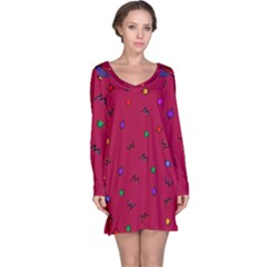 Red Abstract A Colorful Modern Illustration Long Sleeve Nightdress